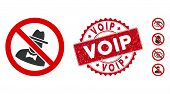 Vector No Spies Icon And Corroded Round Stamp Seal With Voip Caption. Flat No Spies Icon Is Isolated poster
