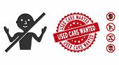 Vector No Guru Icon And Distressed Round Stamp Seal With Used Cars Wanted Phrase. Flat No Guru Icon  poster