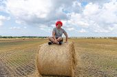 Young Man In Red Wig And Glasses, Dressed In Grey T-shirt Sits On The Round Haystack In Lotus Positi poster