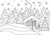 Horizontal Coloring Page With A Beautiful House In The Winter Forest With A Christmas Tree And A Sno poster