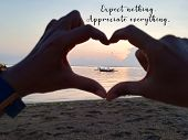 Inspirational Quote - Expect Nothing. Appreciate Everything. With Blurry Hands Love Sign Focus On Fi poster