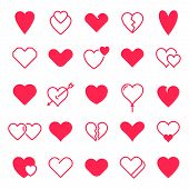 Love Hearts Icon. Abstract Red Loving Heart Symbols For Valentines Day, Outline Lovely Red Heart Ele poster