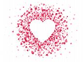 Heart Shaped Confetti. Happy Valentines Day Lovely Frame, Wedding Anniversary Greeting Card With Lov poster