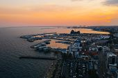 Limassol Promenade At Sunset, Cyprus. Aerial Panoramic View Of Evening Limassol From Above, Drone Ph poster