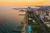 Limassol Promenade At Sunset, Cyprus. Aerial Panoramic View Of Evening Limassol With Molos Park From poster