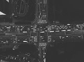 Seoul / South Korea - 08.28.2019: Grayscale Top View On Crossroad In Seoul. Made By Aerial Drone poster