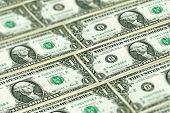 Closeup American Dollars Banknotes Background. Us Dollars Pattern. United States Of America Dollars poster