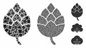 Hop Bud Icon Mosaic Of Rough Items In Different Sizes And Color Tints, Based On Hop Bud Icon. Vector poster