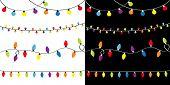 Christmas Lights Set. Four Lightbulb Glowing Garland. Holiday Festive Xmas Decoration. Colorful Stri poster