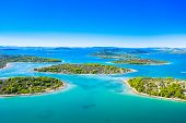 Croatian Coastline, Small Islands In Murter Archipelago, Aerial View Of Turquoise Bays From Drone, T poster