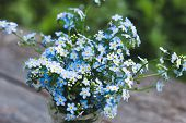 Close-up Of Small Blue Flowers In A Bouquet In A Vase, Classic Blue Color, Trend For 2020. Place Und poster