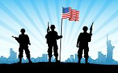 stock photo of united we stand  - illustration of American soldier standing with flag on city backdrop - JPG