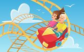 Man And Woman On Roller Coaster Flat Vector Illustration. Ccartoon Characters Taking Amusement Ride. poster
