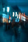 Abstract Dark Blurred Background Of City Street In Evening, Pedestrian Street, Unidentified People,  poster