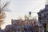 Street Lamp Over The Center Of The Street. Magnitogorsk. Gorky Street. Historic Centre. Winter City. poster