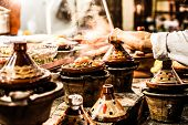 image of tagine  - Selection of very colorful Moroccan tajines  - JPG