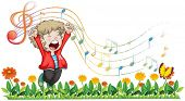 image of g clef  - Illustration of a boy singing at the garden on a white background - JPG