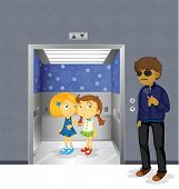 image of pedophile  - Illustration of the young girls inside the elevator and a scary man outside - JPG