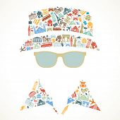 human face is made up of icons landmarks. travel concept. Vector illustration poster