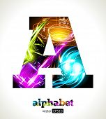 Vector Customizable Light Effect Alphabet. Design Abstract Letter A.