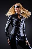 Постер, плакат: Attrative женщина в костюме из кожи