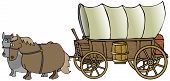 stock photo of covered wagon  - This illustration depicts a covered wagon being pulled by a team of horses - JPG