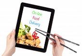 image of chopsticks  - Online Food Delivery concept with computer isolated - JPG