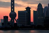 Shanghai morning city skyline silhouette over river