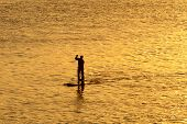 picture of watersports  - silhouette of man paddleboarding in open water - JPG
