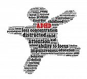 stock photo of attention  - Attention deficit hyperactivity disorder or ADHD in word collage - JPG