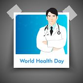 Abstract World health day concept with illustration of a doctor..