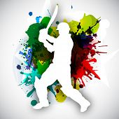 stock photo of cricket  - Cricket batsman in playing action on colorful grungy background - JPG