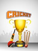 stock photo of cricket bat  - Sports concept with winning trophy and cricket bats - JPG