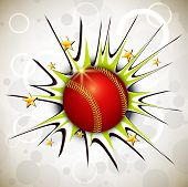 stock photo of cricket  - Shiny cricket ball on abstract background - JPG