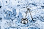 stock photo of ball bearing  - Technical drawings with the bearing in a blue toning - JPG