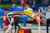 GOTHENBURG, SWEDEN - MARCH 1 Alexandru Tufa (ROM) competes in the qualification of the men's high ju
