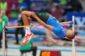 GOTHENBURG, SWEDEN - MARCH 1 Mickael Hanany (FRA) competes in the qualification of the men's high ju