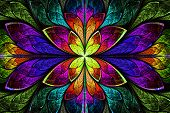 stock photo of symmetry  - Multicolor beautiful fractal pattern - JPG