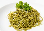 image of pesto sauce  - Italian pasta spaghetti with pesto sauce and basil leaf - JPG