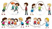 image of playmates  - Illustration of the children playing skipping rope on a white background - JPG
