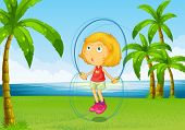 image of skipping rope  - Illustration of a girl playing skipping rope at the riverside - JPG