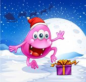 stock photo of beanie hat  - Illustration of a happy pink beanie monster wearing Santa - JPG