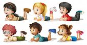 stock photo of boy girl shadow  - Illustration of the six kids on a white background - JPG