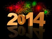 stock photo of solemn  - golden new year 2014 with reflection and colourful fireworks - JPG