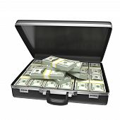stock photo of million-dollar  - Black case with money  - JPG