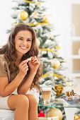 Happy Young Woman Having Latte Macchiato And Chocolate Candies N