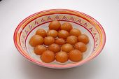 pic of jamun  - Indian special Diwali dessert Gulab Jamun on white background - JPG