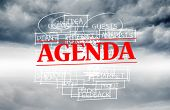 Agenda stamped over words written on sky background