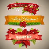 stock photo of christmas flower  - Set of  Ribbons - JPG