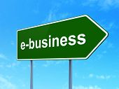 Business concept: E-business on road sign background